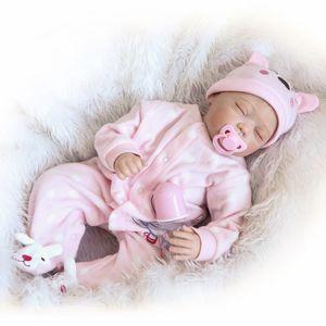 22 zoll 55 cm Reborn Baby Puppe Mädchen PP füllsilikon Mit Kleidung Lebensechte Nette Geschenke Spielzeug Rosa Kaninchen Spielanzug