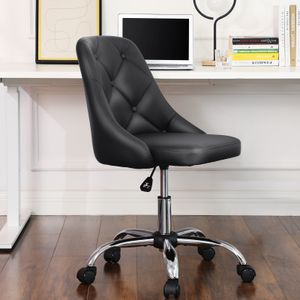 SONGMICS Bürostuhl bequemer Schreibtischstuhl höhenverstellbarer Computerstuhl bis 120 kg belastbar Stahlgestell PolyurethanKunstleder schwarz OBG018B01