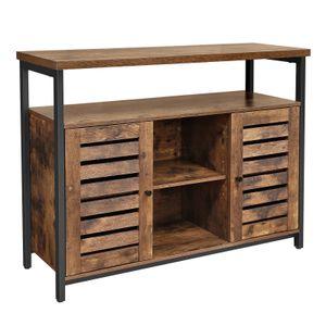 VASAGLE Kommode mit Lamellentüren Sideboard | Beistellschrank | Flurschrank Industrie-Design Küchenschrank Vintage dunkelbraun LSC79BX