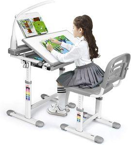 GOPLUS Kinderschreibtisch Set, Schreibtisch Höhenverstellbar, Schülerschreibtisch mit Lampe, Kindermöbel Neigungsverstellbar, Kindertisch mit Stuhl, Arbeitstisch mit Schublade, Farbewahl (Grau)