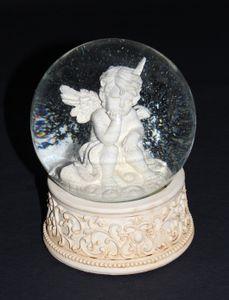 Dekorative Spieluhr / Schneekugel mit Engel Figur Melodie Stille Nacht