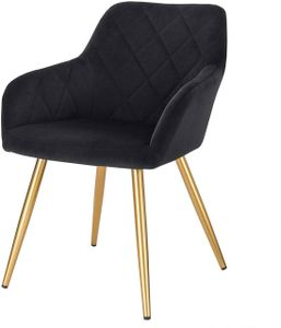 WOLTU Esszimmerstuhl Wohnzimmerstuhl aus Samt mit Armlehnen und Rückenlehne Gestell aus Metall mit goldenen Beinen Schwarz
