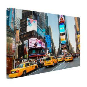 Leinwand Bilder - 60x40 cm - Times Square gelbes Taxi Fotodruck  - Modernes Wandbilder - New York