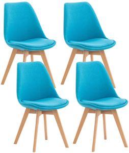 CLP 4er Set Stuhl Linares Kunststoff mit Kunstlederbezug, Farbe:türkis, Material:Stoff
