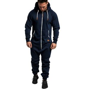 Männer Pure Color Splicing Herbst Winter Casual Hoodie Print Reißverschluss Print Jumpsuit Größe:L,Farbe:Navy