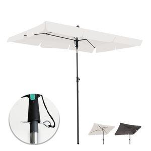 Grandekor Sonnenschirm Rechteck Milchweiss 200*125CM Mit Sicherheitsschluessel UV 50+ Gartenschirm Neigefunktion hoehenverstellbar