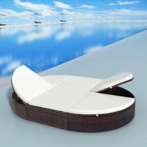 anlund Outdoor-Lounge-Bett mit Polster Poly Rattan Braun