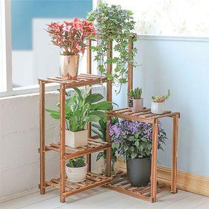 WISFOR Blumenregal Ecke Blumentreppe 6 Ebenen Holz für Balkon Wohzimmer Garten 60×60×100cm