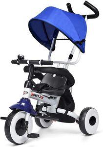 Goplus 4 in 1 Dreirad, Kinderdreirad Klappbar, Tricycle ab 1 Jahre bis 5 Jahre, Kinderfahrrad Kinderwagen Schiebewagen