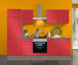 Küchenblock Imola 270 cm mit Einbauspüle ohne Elektrogeräte in signalrot glänzend