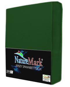 NatureMark JERSEY Spannbettlaken, Spannbetttuch 100% Baumwolle  | 200x220 cm +40 STEG - dunkel grün