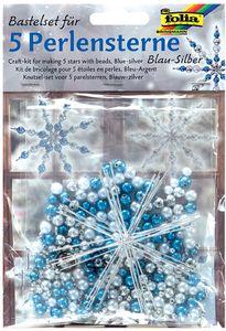 folia Perlensterne-Set 340-teilig blau / silber / perlweiß