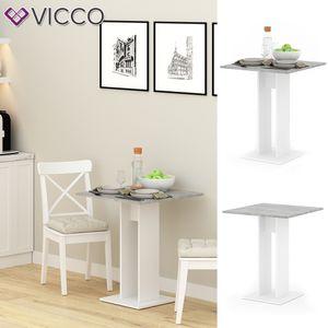 VICCO Esstisch EWERT Küchentisch Esszimmer Tisch Säulentisch weiß beton 65x65 cm