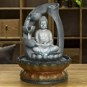 4-stufiger Zimmerbrunnen Buddha-Tischbrunnen für Wohn- und Bürodekoration, dekorative Innenstatue mit LED-Licht und fließendem Wasserfluss Zen-Meditation