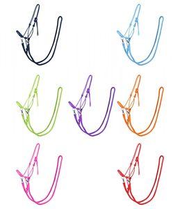 Knotenhalfter mit Zügel  Halfter Reithalfter Arbeitshalfter QHP 7 Farben und 4 Größen Farbe - lila Größe - Shetty