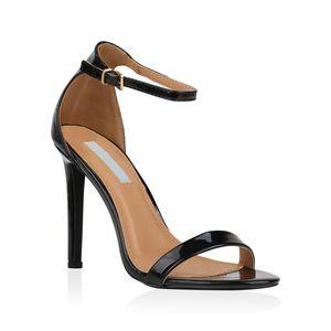 Mytrendshoe Damen Sandaletten Riemchensandaletten High Heels Sommer Schuhe 821192, Farbe: Schwarz, Größe: 36