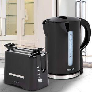 ONVAYA® Frühstücksset   Toaster Wasserkocher Set   Frühstücksserie   Schwarz   Toaster für 2 Scheiben   Wasserkocher 1,7 Liter (Frühstücksset 2-teilig   Toaster Wasserkocher)