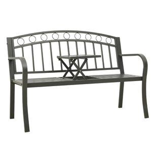 Gartenliege/Gartenbank mit 1 Tisch 125 cm Stahl Grau