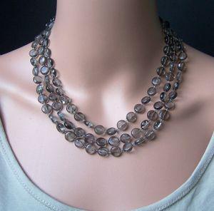 Z271# Perlenkette lang rauchquarz Acrylperlen Wickelkette Halskette