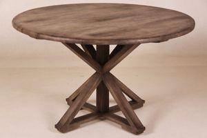 Casa Padrino Vintage Teak Esstisch Vintage Rustic Grey Rund Durchmesser 130 cm - Landhaus Stil Tisch Teakholz