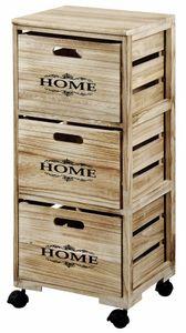 Kesper Regal mit 3 Antikboxen, fahrbar, aus Paulownieholz, H 82 x B 34 x T 31 cm