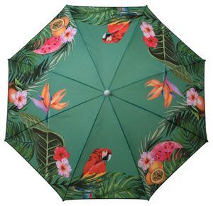 Sonnenschirm UV-Schutz 40+ Strandschirm Balkonschirm Schirm grün bunt Ø 155 cm Grün mit Papagei