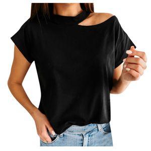 Damen Sommer Rundhalsausschnitt Kurzarm One Shoulder Off Shoulder Solid Top Shirt Größe:L,Farbe:Schwarz