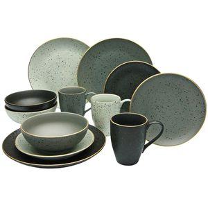 CreaTable 14634 Kombiservice Industrial Gold für 4 Personen, Steinzeug, mehrfarbig (1 Set, 16-teilig)