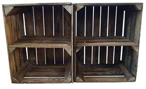 Holzkiste Vintage geflammt mit Zwischenboden kurz 50 x 40 x 30cm 2er SET
