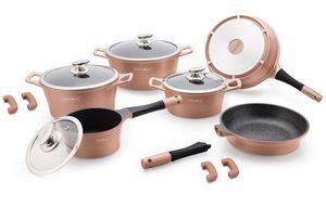 Royalty Line Luxe Kochgeschirrset - 14-teilig - Keramik - Abnehmbarer Griff - Kupferfarben