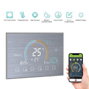 95-240 V Wi-Fi Smart Programmierbarer Thermostat 5 + 1 + 1 Sechs Perioden Sprach-APP-Steuerung Hintergrundbeleuchtung LCD-Wasser- / Gaskessel-Heizungs-Thermoregulator mit UV-Index-Feuchtigkeitsanzeige Sperrfunktion ¡æ / šH Umschaltbar Kompatibel mit Amazon Echo Google Home Tmall Genie