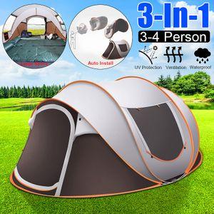 Großes Campingzelt im Freien Schnellaufbau Zelt Pop-Up 3-4 Personen Camping Tent 250x150x110cm DE