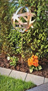 Rosenkugel Geflecht 15 cm Edelstahl mit Stab 80 cm Streifenkugel Geflechtkugel