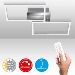 LED Deckenleuchte dimmbar Fernbedienung CCT Chrom-Alu 30W Briloner Leuchten