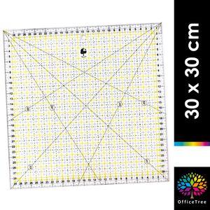 OfficeTree Schneiderlineal - 30 x 30 cm - Patchworklineal Lineal zum Nähen mit exakten Abmessungen u