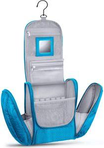 Große Premium Kulturtasche zum Aufhängen mit Spiegel, sehr geräumiger Kulturbeutel als Geschenk oder perfekt für den Urlaub, Farbe:Türkis