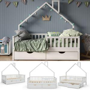 VitaliSpa Hausbett Kinderbett Spielbett Noemi 80x160cm Schubladen Rausfallschutz