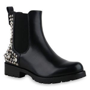 Mytrendshoe Damen Stiefeletten Chelsea Boots Leicht Gefütterte Nieten Schuhe 835819, Farbe: Schwarz, Größe: 38