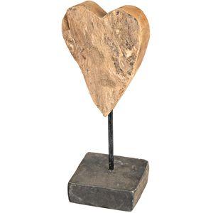 Formano Deko-Herz auf Fuß, Höhe: 34 cm, aus massivem Teak-Holz, Braun, 1 Stück