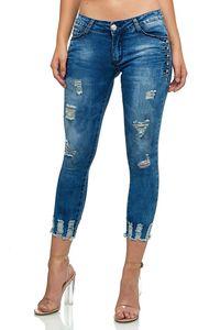 Damen Denim Skinny Capri Jeans Shorts Cropped Ankle Hosen Destroyed Risse Strass Design 7/8 Pants, Farben:Dunkelblau, Größe:44