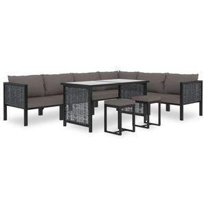 9-TLG. Garten-Lounge-Set Gartenmöbel-Set Sitzgruppe mit Auflagen Poly Rattan Anthrazit Balkon-/Garten-/Lounge-Set für 8-10 Personen☆8813