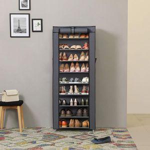Schuhschrank mit 10 Schichten für ca. 27 paar Schuhe 160 x 58 x 28 cm Schuhregal staubdicht grau SONGMICS RXJ10G