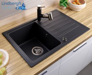 """LINDBERGH® Granitspüle Schwarz """"POP11"""" inkl. Siphon Einbauspüle Küchenspüle Spüle KÜCHE"""