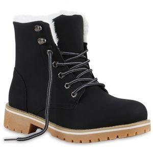 Mytrendshoe Warm Gefütterte Damen Worker Boots Stiefeletten Outdoor 812611, Farbe: Schwarz, Größe: 39