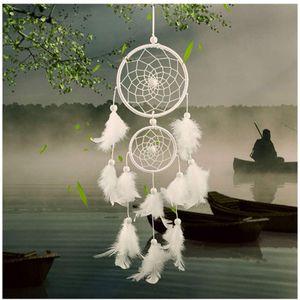 Traumfänger Handgefertigt, Feder  Wandbehang Ornament für Baby Shower Car Hochzeit Home Decor Geschenk (Weiß)