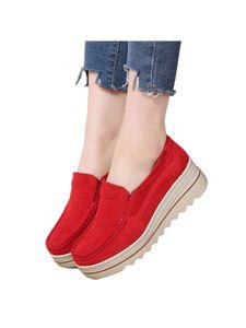 Damen Einfarbig Freizeitschuhe Bequeme Mokassinschuhe Mode Müßiggänger Flache Schuhe,Farbe: Rot ,Größe:40