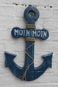 Anker Moin Moin, maritime Wanddekoration, Holz massiv