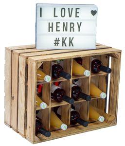 3 Stück Flaschenregal Henry 12er geflammt Weinkistenregal Kistenregal Weinkisten