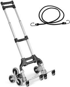 GOPLUS Vielseitiger Treppensteiger, Faltbarer Sackkarre mit 10 Rädern und elastischem Seil, Transportkarre mit einziehbarem Griff zum Treppensteigen und ebenen Untergrund