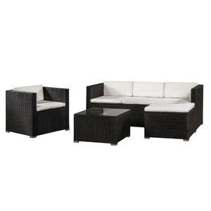Juskys Polyrattan Lounge Punta Cana L schwarz – Gartenlounge Set für 4-5 Personen – Sitzgruppe mit Sessel, Sofa, Tisch & Hocker - Sitzbezüge Creme
